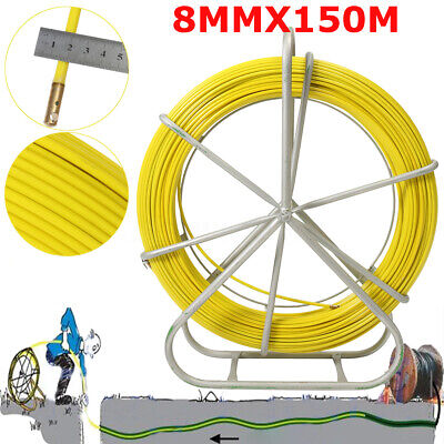 8mm 150m492ft Fish Tape Fiberglass Wire Cable Running Rod Duct Rodder Puller