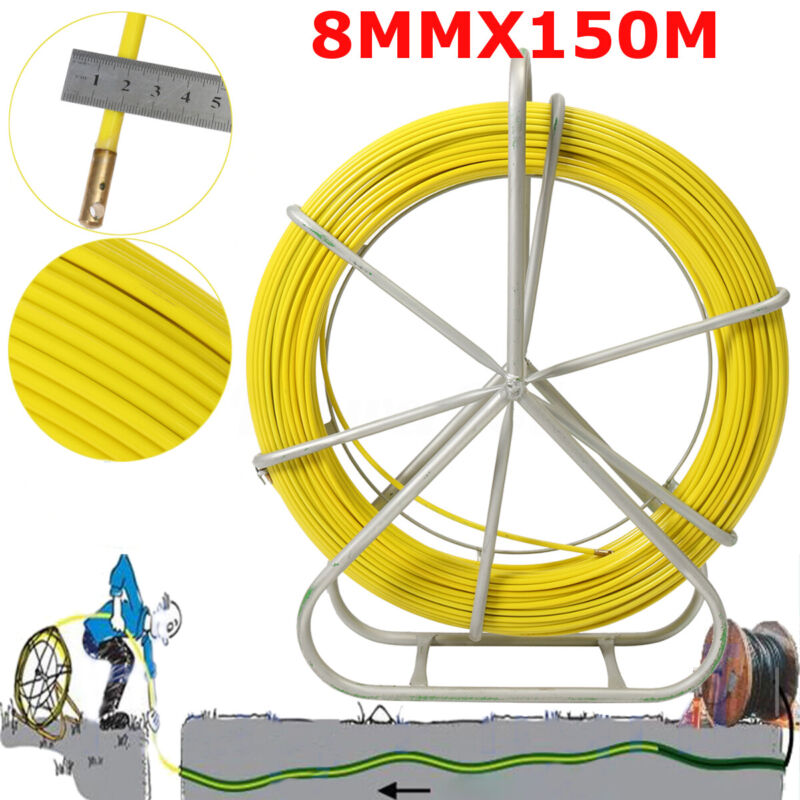 8mm 150m/492ft Fish Tape Fiberglass Wire Cable Running Rod Duct Rodder Puller