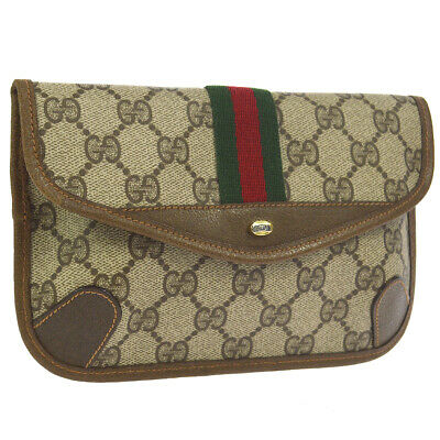 GUCCI Shelly Line GG Clutch Hand Bag Pouch Brown PVC Vintage Authentic 00266