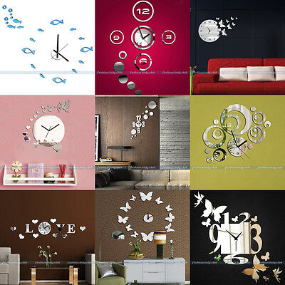 New 3D Modern Frameless Wall Clock Watches Sticker Hours DIY Home Decoration