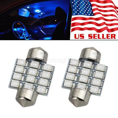 2pcs Blue 12-SMD LED Interior Lights Bulbs for Car Dome Map Reading Lamps DE3175