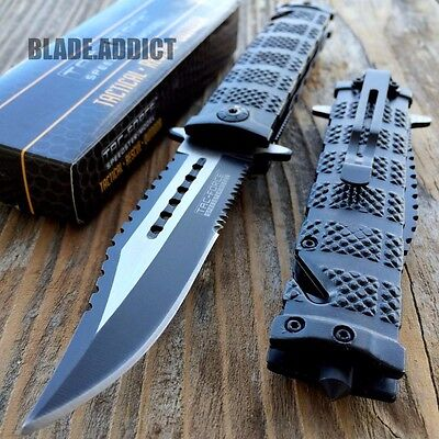 TAC FORCE Spring Assisted Open SAWBACK BOWIE Camping Rescue Pocket Knife
