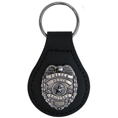 Silver Police Badge Leather Car Keyfob Truck Key Ring Chain Fob Keyring Keychain Police Badge Ring