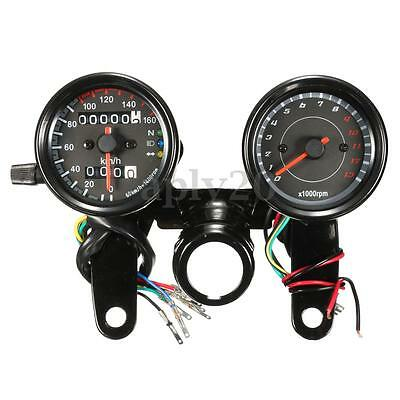 Universal Black Motorcycle LED Light Odometer & Tachometer Speedometer Gauge US