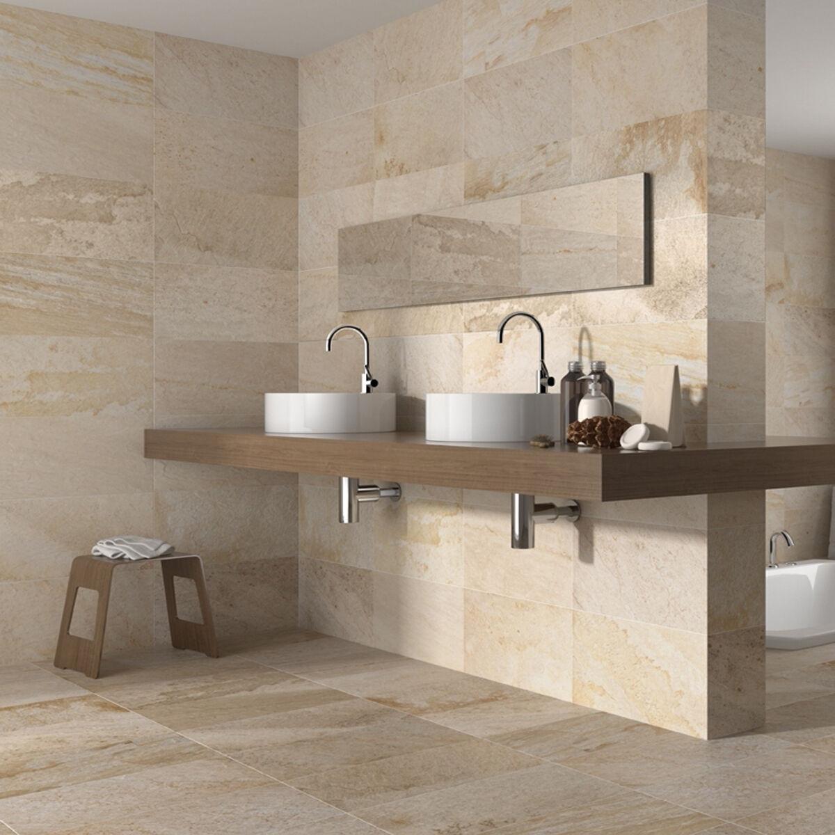 50x27 Matt Cream Stone Effect Ceramic Wall And Floor Tiles 1 Sqm 7 4tiles
