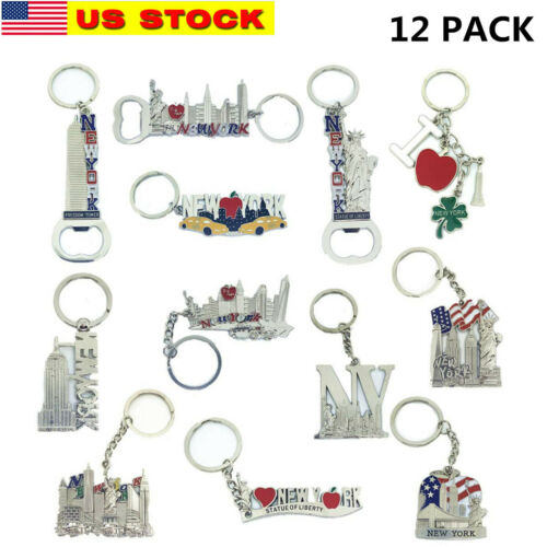 12 Pack New York City Silver Metal Keychains NYC  KeyRing Souvenir  Gift Set