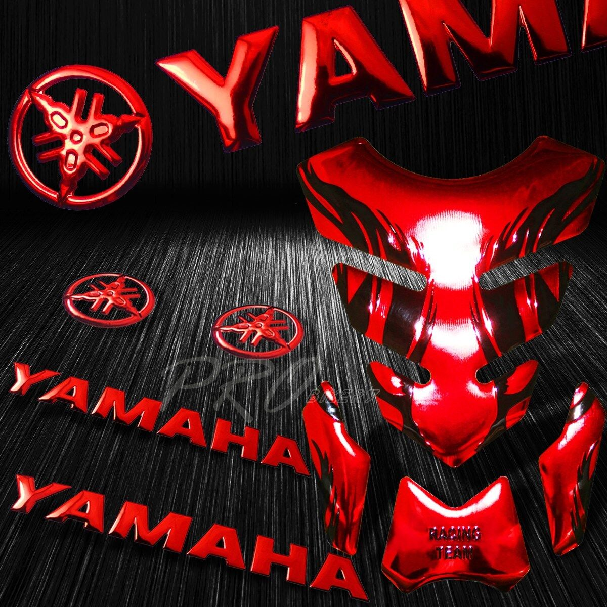 Details about chrome red tribal fire tank pad 8 for yamaha logo letter fairing emblem sticker