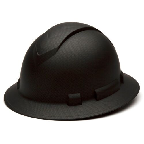 Pyramex HP54117 Ridgeline Graphite FULL BRIM Black Hard Hat W/4 Pt Ratchet Susp