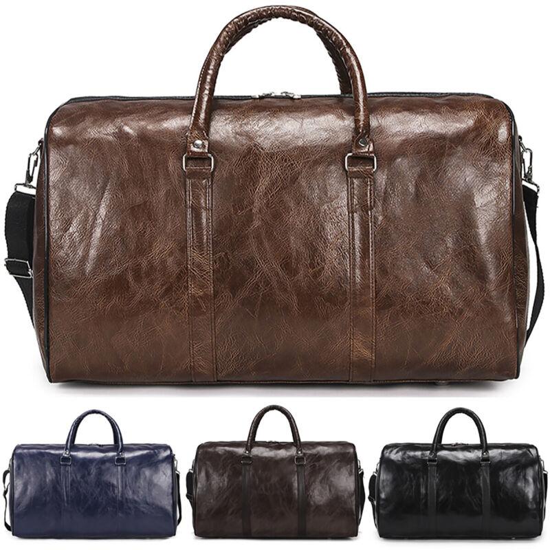 Vintage Men's Leather Duffle Luggage Shoulder Tote Bag Gym T