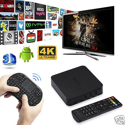 Smart TV BOX 4K Android Quad Core 8GB Media Player Fully Loaded WIFI + Keyboard