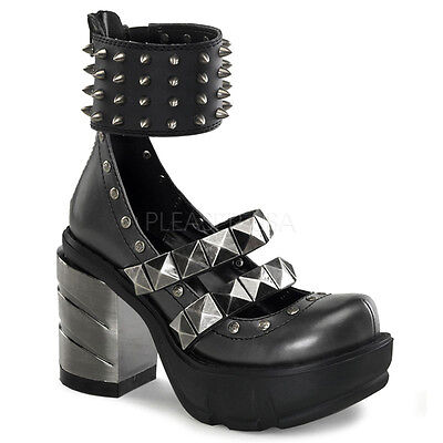 Spikes Chrome Heel Shoes (Demonia Sinister 62 Ladies Shoes Goth Spikes Ankle Chromed Abs Heel Platform )