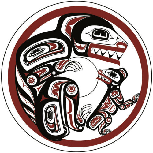 Haida Bear and Cub In Den Clarence Mills Art Card Northwest Coast Native