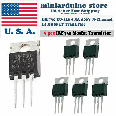5pcs Irf730 Ir Power Mosfet N-channel 5.5a 400v Transistor