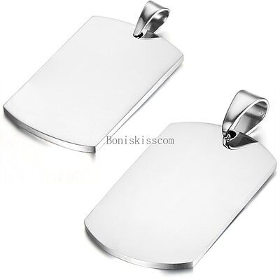 Silver Polished Stainless Steel Plain Army Dog Tag Pendant Couples (Plain Dog Tag Necklace)
