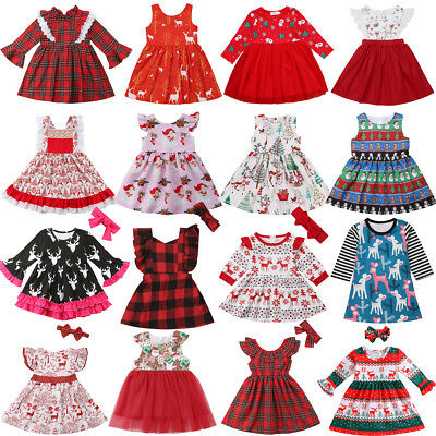 US Xmas Baby Girl Princess Dress Kids Lace Plaid Tutu Deer Party Pageant Dresses
