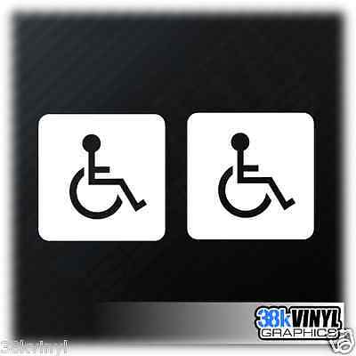x2 Disabled Disability Mobility Wheelchair Car Window Bumper Sticker Decal