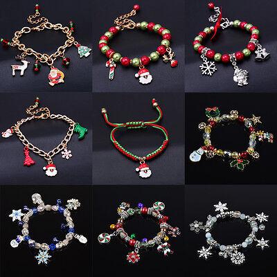 Christmas Bracelet Charm Bell Snowman Snowflake Colorful Beads Girls Xmas Bangle