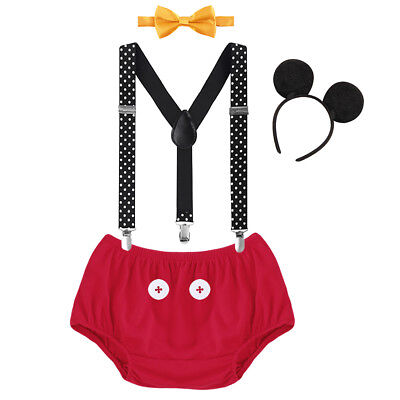 Mickey Mouse Outfit For Boys (Mickey Mouse Cake Smash Pants Suspenders Clothes Outfits For Baby Boy)