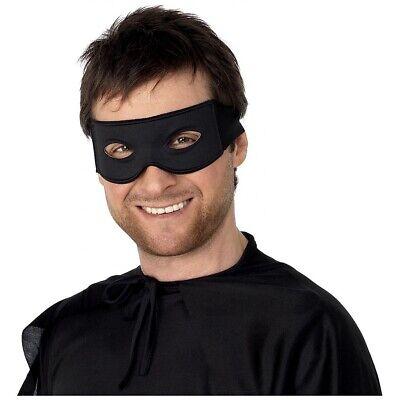 Costume Eye Mask (Black Eye Mask Adult Mens Bandit Lone Ranger Zorro Halloween Costume Fancy)