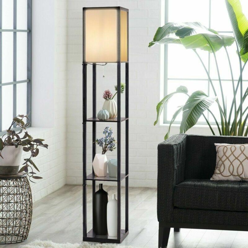 Wood Shelf Floor Lamp LED Light W/Storage Shelves For Living