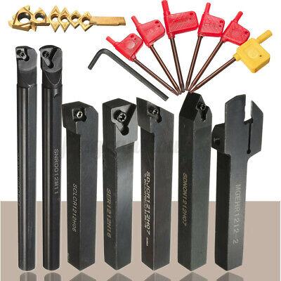 7 Set 12mm Lathe Turning Tool Holder Boring Bar W Dcmtccmt Carbide