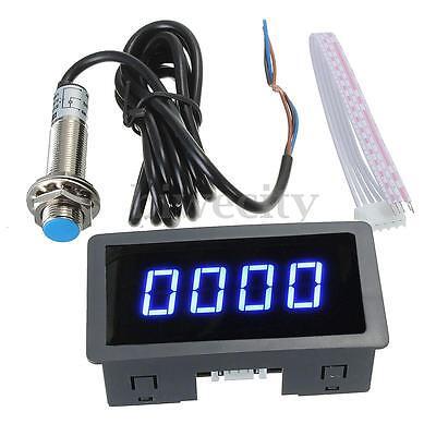 4 Digital Led Blue Tachometer Rpm Speed Meterhall Proximity Switch Sensor Npn