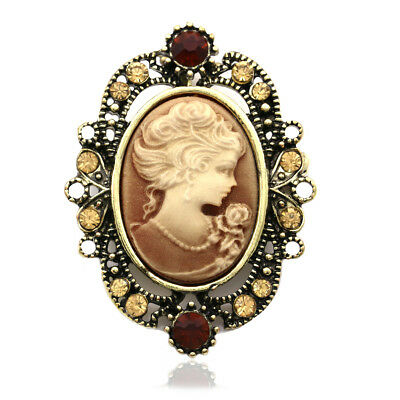 Antique Style CAMEO Rhinestone Crystal Brooch Pin Brown Antique Style Brooch Pin