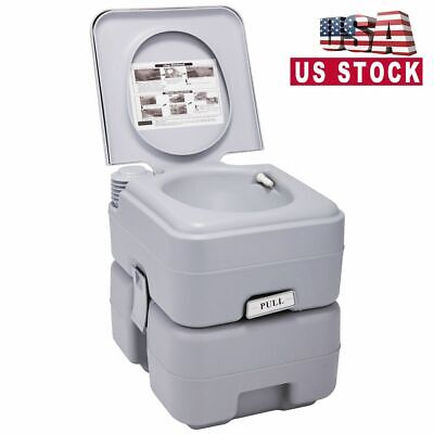 Portable Toilet 5 Gallon 20L Flush Outdoor Camping Toilet Potty Travel Car SUV