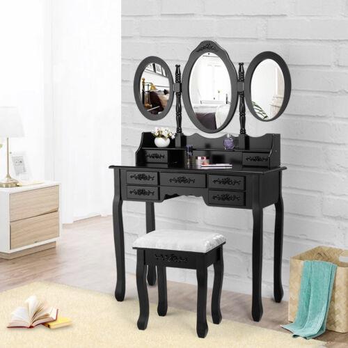 Makeup Vanity Table Set 7 Drawers 3 Mirrors Dressing Desk Vanity Set w/Stool