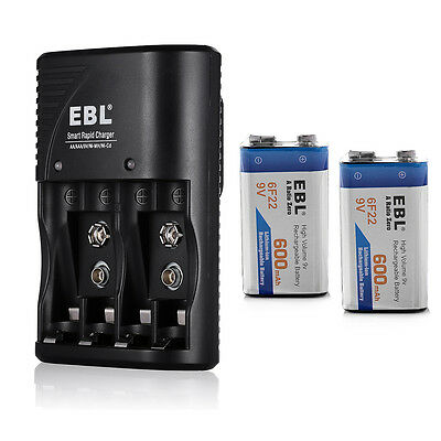 2x 600mAh 9V Li-ion Batteries +  Charger for 9 volt Ni-Mh Ni-CD AA AAA Battery
