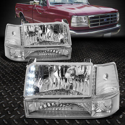 [LED DRL] FOR 1992-1996 FORD F150/F250/F350 CHROME CLEAR BUMPER HEADLIGHTS/LAMP