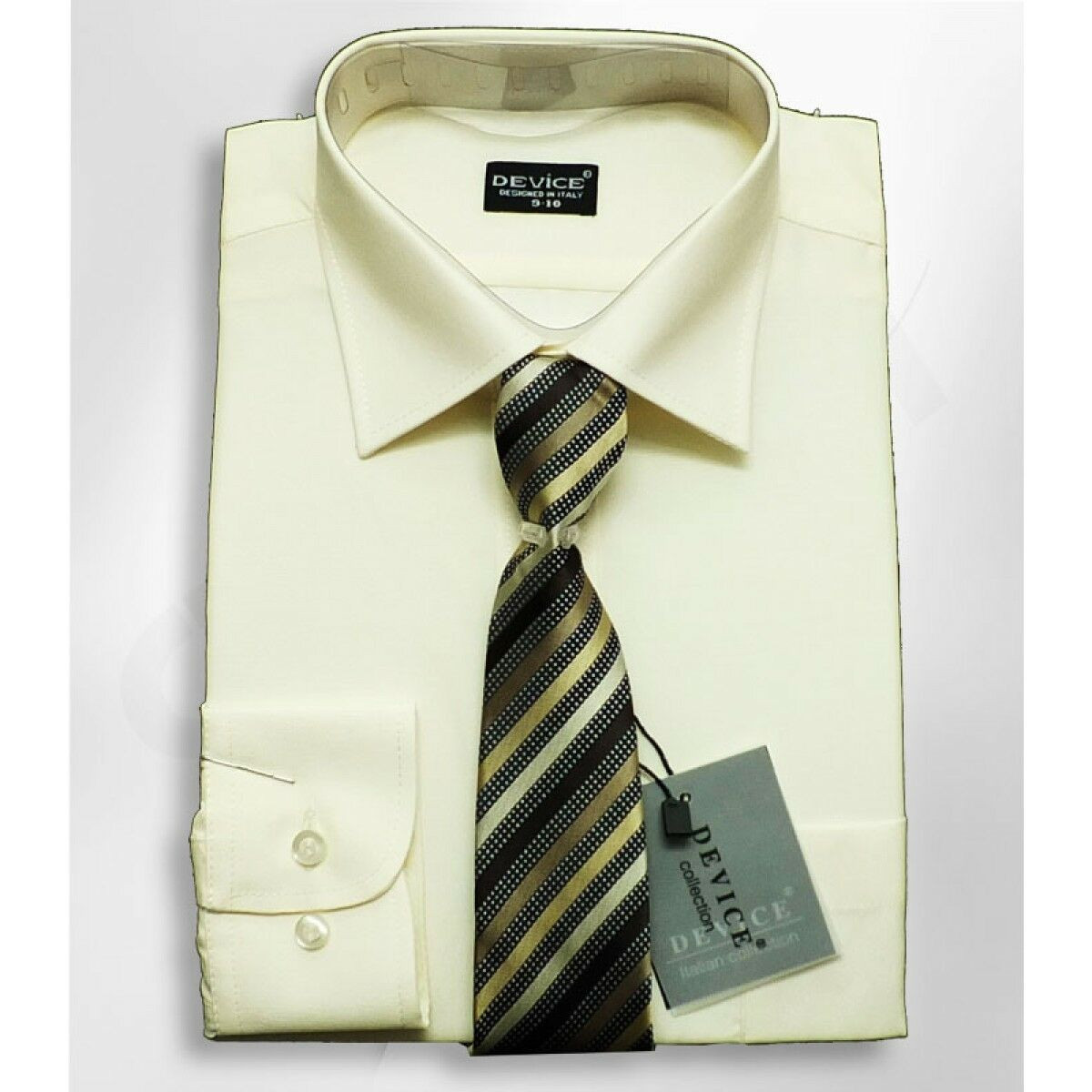 f4f6db2bd Details about Boys Formal Cream Shirt And Tie Set Wedding Prom Ivory Smart  Device Suit Shirts