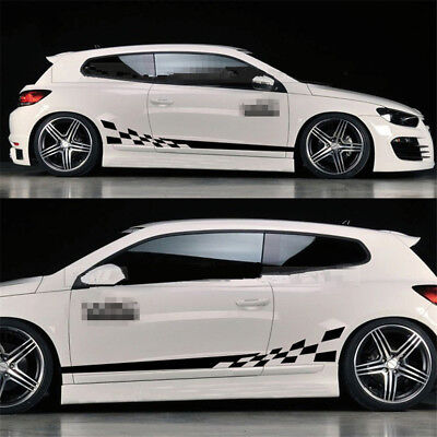 Universal 2pcs Car Body Stickers Custom Vinyl Side Stripe Graphic Decals Sticker