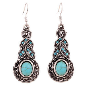 Unique Retro Jewelry Tibetan Silver Turquoise Inlay Rhinestone Dangle Earrings
