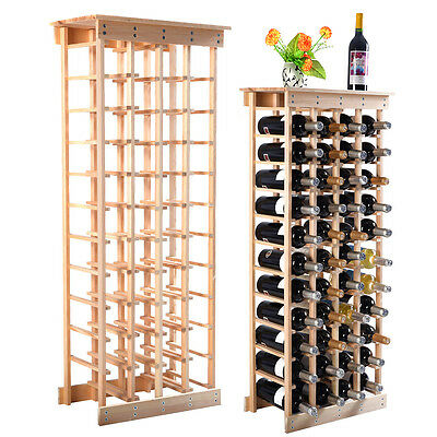 New 44 Bottle Wood Wine Rack Storage Display Shelves Kitchen Decor Natural