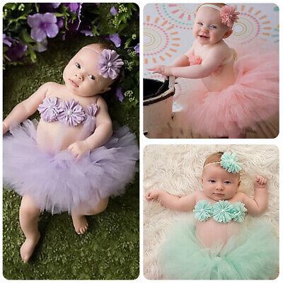 Newborn Baby Girls Photography Costume Flower Top Headband Tutu Skirt - Flower Baby Costume