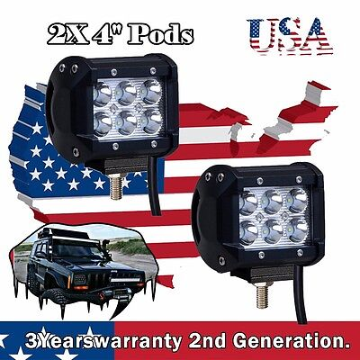 2x 4Inch 18W CREE Led Work Light Cube Pods Jeep Boat Offroad SUV Truck UTE 4WD 3