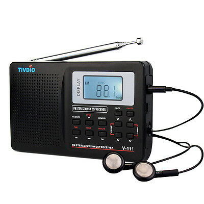 TIVDIO VT-111 Portable AM/FM/SW FM Shortwave Radio with Clock and Alarm Black US
