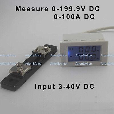Dc Voltmeter Ammeter Range Dc 0-199.9v 0-100a Blue Backlight Dc 340 Input