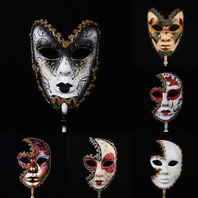 New Venetian Mask On Stick Mardi Gras Mask for Women Masquerade Party Prom Ball ](Masks For Masquerade Ball)