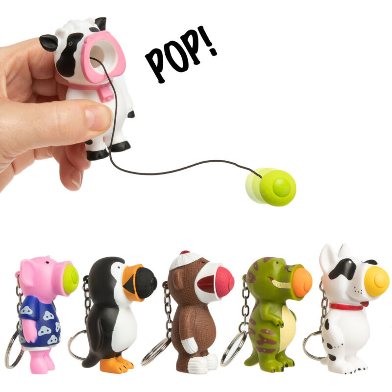 Set Of 6 Hog Wild Foam Ball Popper Animal Toy Keychains Fun Squeeze Party Favors