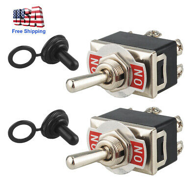 2pcs 6-pin Metal Copper Dpdt On-on Toggle Switch Ac15a250v Wwaterproof Boot Us