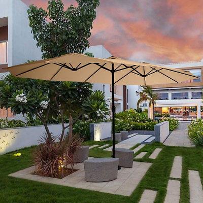 15' Double-Sided Patio Umbrella Parasol Sun Shelter Market Canopy Shade
