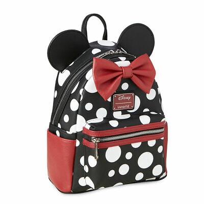 Minnie Mouse Black & White Polka Dot Mini Backpack Disney & Loungefly SEALED