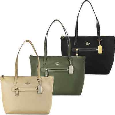 Coach Top Zip Nylon Tote - Leather Handles and Trim
