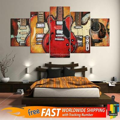 Abstract Guitar Wall - 5Pcs Abstract Guitar Music Poster Canvas Oil Print Painting Wall Art Home Decor