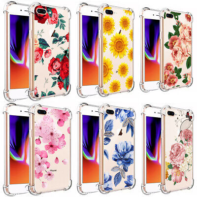 F Iphone 7 8 Plus XS Max XR Girls Love Floral Flowers Clear TPU Phone Case - Flowers Phone