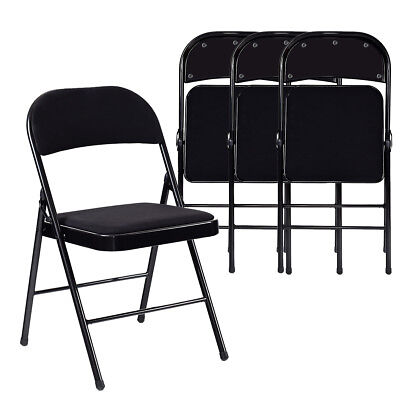 Set of 4 Folding Chairs Fabric Upholstered Padded Seat Metal Frame Home Office ()