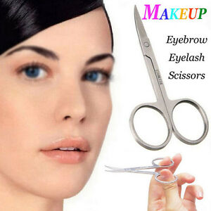 Makeup Eyebrow Hair Eyelash Remover Trimmer Curved Edge Scissors Steel Cutter HG