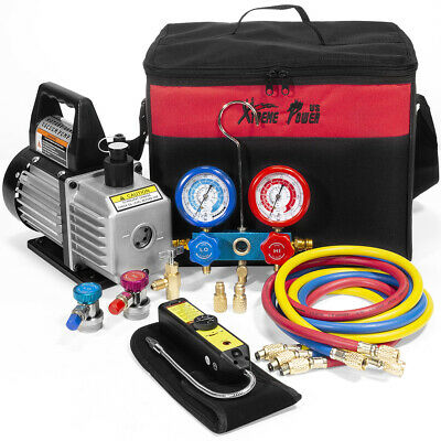 4CFM Vacuum Pump HVAC AC Manifold Gauge Leak Detector with Carrying Tote Kit